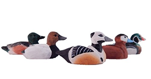 Assorted Hand-Painted Miniature Wooden Duck Decoy Carved Bird Ornament Male Figurine Small Animals Collectible