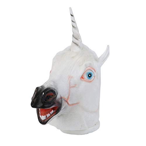 Kongqiabona Funny Creative Halloween White Unicorn Horse Head Mask Latex for a Crazy Cosplay Party Costume Dress Mask -