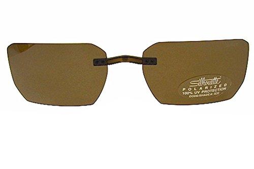Silhouette Titan Edge 5076 Brown Polarized ClipOn Sunglasse(Shape7598 - Silhouette Sunglasses Clip On Eyewear