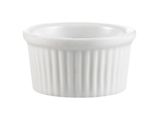 CAC China Accessories 3-Inch by 1-3/8-Inch 3-Ounce Super White Porcelain Round Fluted Ramekin, Box of 48 - Chefs Ramekins