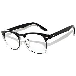 Retro Clear Lens Sunglasses Black-Gun Metal Half Frame Stylish