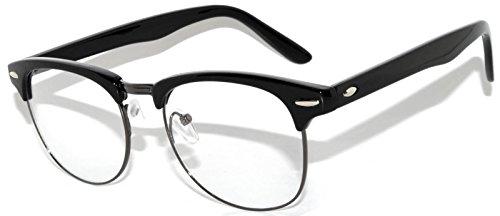 Retro Clear Lens Sunglasses Black-Gun Metal Half Frame - Glasses Browline