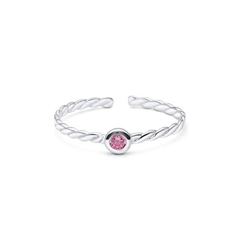 High Polished Sterling Silver Round 2mm Pink CZ Solitaire Rope Design Toe Ring by Kezef Creations