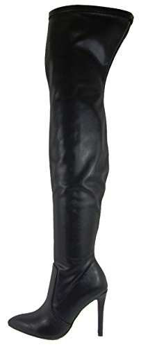 Pu Heel Knee Stretch Stiletto Boot High Soda Over Pointed Women's Black Toe The SqHUS