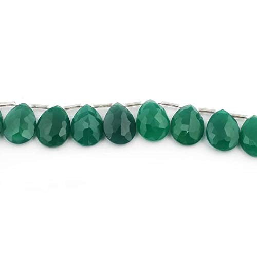 GemAbyss Beads Gemstone 1 Strand Natural Green Onyx Faceted Pear Drop Beads Cut Stone Briolettes - Side Drill Cut Stone Necklace 19mmx15mm 8 Inch Code-MVG-12909