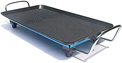 Yongqin Multifunctional Electric Grill Electric Grill, Non-Stick Teppanyaki Grill Pan Large Table-Top Breakfast Cooking Plate Easy Clean Fat Drip Tray Adjustable Temperature Indoor Portable