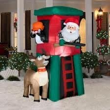 7 Gemmy Inflatable Santa in Deer Stand Hunting with Deer Penguin