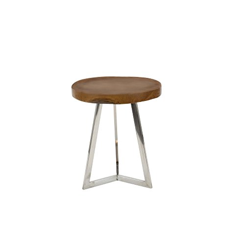 Benzara Round Wood And Stainless Steel Accent Table, Brown