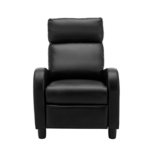 SUNCOO Manual Leisure Recliner Chair Luxury Lounge Armchair Sofa for Relax Living Room Black