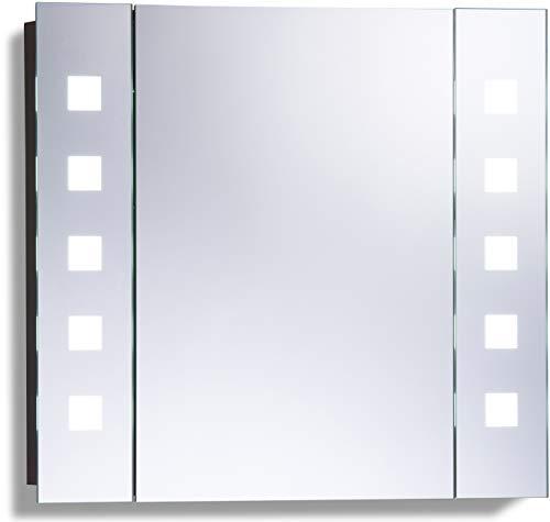 Armoire De Toilette Pour Salle De Bain Avec Miroir Lumineux Antibuée Prise Pour Rasoir Détecteur De Mouvement Et éclairage Led 60cm H X 65cm L X