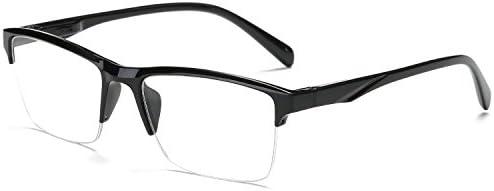 VEVESMUNDO Leesbril voor dames en heren modern half frame leeshulp halfbranded zwarte bril