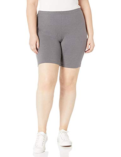 Just My Size Women's Plus-Size Stretch Jersey Bike Short, Charcoal Heather, 3X (Best Bike Shorts For The Money)