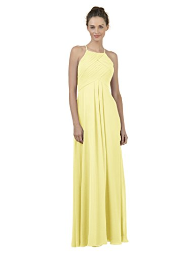 Alicepub Long Chiffon Bridesmaid Dress Maxi Evening Gown A Line Plus Party Dress, Yellow, (Yellow Halter Gown)
