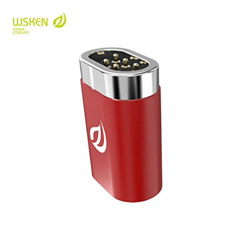 Wsken Magnetic Adapter, iKNOWTECH WSKEN MINI 1 2 Type-C To Micro or Type-C Plug Magnetic Connector Adapter (Converts Normal Type-c cable by using this adapter) (Red Mini Magnetic Converts Adapter)