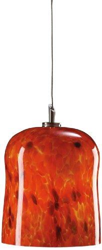 PLC Lighting PLC 1 Light Mini Pendant Fuzio Collection 365 RED, Satin Nickle Finish