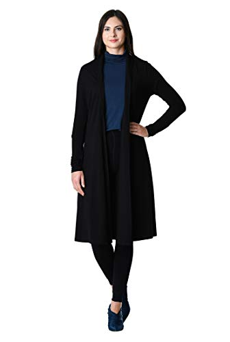 cardigan Black knit Women's eShakti front open Cotton COZ7nqw1