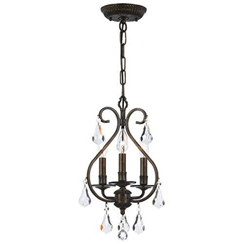 - Crystorama 5013-EB-CL-MWP Crystal Accents Three Light Mini Chandelier from Ashton collection in Bronze/Darkfinish,