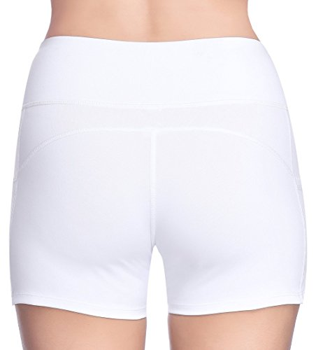 THE GYM PEOPLE Compression Short Yoga Shorts Women Power FlexRunning Fitness Shorts Pockets (Small, White) by THE GYM PEOPLE (Image #6)