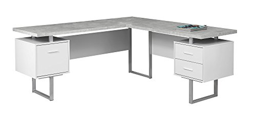 Monarch Specialties I 7307 Computer Desk Left or Right Facing White/Cement-Look 70 L