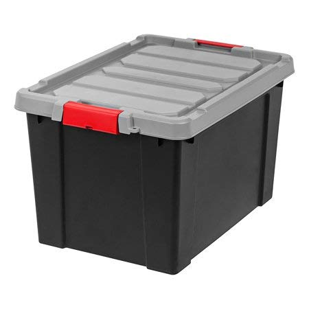 IRIS Store-It-All Tote 19 Gallon, 4 Pack, Black with Red Buckles