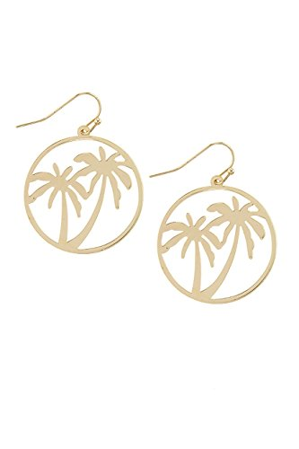 Palm Wood Earrings (TRENDY FASHION JEWELRY PALM TREE CUT OUT DROP EARRINGS BY FASHION DESTINATION | (Gold))
