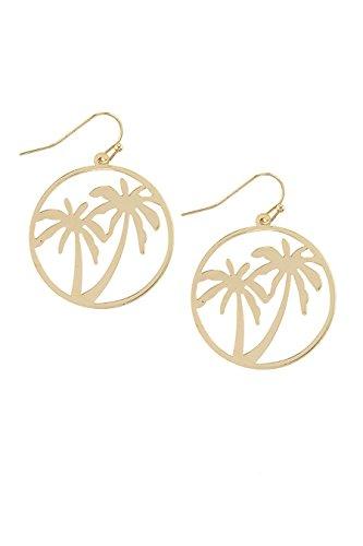 Wood Earrings Palm (THE JEWEL RACK PALM TREE CUT OUT DROP EARRINGS (Gold))