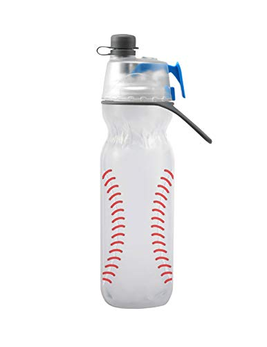 O2COOL HMCDP31 Insulated Water Bottle, Mist 'N Sip Sports Series, 20 oz, Baseball, 20 Ounce,