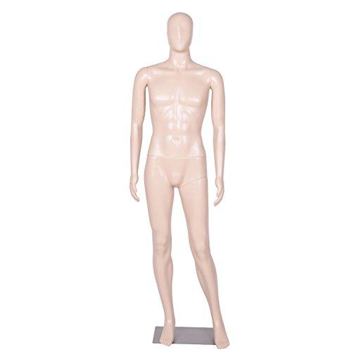 Giantex Male Mannequin Egghead Plastic Realistic Display Dress Form Full Body w/Base