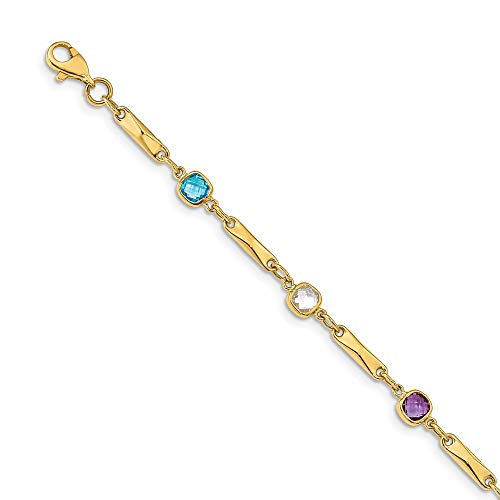 (14k Yellow Gold Multi Gemstone Link Bracelet 7 Inch Fine Jewelry Gifts For Women For Her)