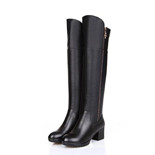 blocco blocco tonda Black amp;X Donna stivali lunghi lunghi QIN tacchi scarpe tacco punta PZOIvvxq