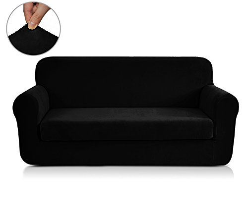Chunyi 2-Piece Coral Fleece Spandex Fabric Polyester Sofa Slipcovers (Sofa, Black) (Leather Sofa With Fabric Seat Cushions)