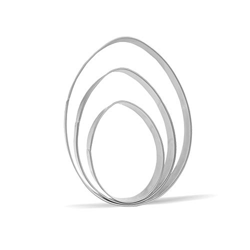 """Large Egg Cookie Cutter Set – 5"""",4"""",3"""" – 3 Piece – Stainless Steel"""