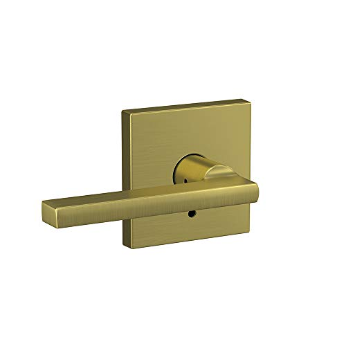 Schlage Custom FC21 LAT 608 COL Latitude Lever with Collins Trim Hall-Closet and Bed-Bath Lock, Satin Brass
