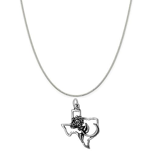 """Raposa Elegance Sterling Silver Rose of Texas Map Charm on a Box Chain Necklace, 16"""""""