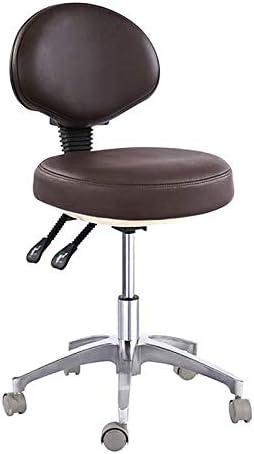 Taburete de cirujano con 2 palancas de ajuste, silla de dentista móvil, microfibra, piel