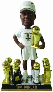 Tim Duncan (San Antonio Spurs) 5X NBA Champ Base (2014 T-Shirt/Hat) 3X Finals MVP Trophy Bobble Head Exclusive #/300 by Forever Collectibles