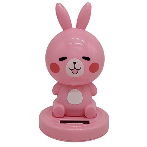 Fenteer Solar Powered Nodding Bobbing Cute Rabbit Solar Toy Home Desktop Decor Bobbleheads Animal Pet Model Pink