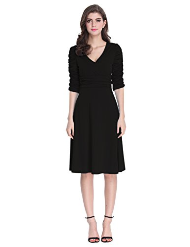 Sue&Joe Women's 3/4 Sleeve Dress Ruched Waist Classy V-Neck Casual Cocktail Dress, Black, TagsizeXXL=USsize10-12