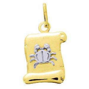 So Chic Bijoux © Pendentif Zodiaque Parchemin Bicolore Signe Astrologique Cancer Or Jaune & Blanc 750/000 (18 carats)