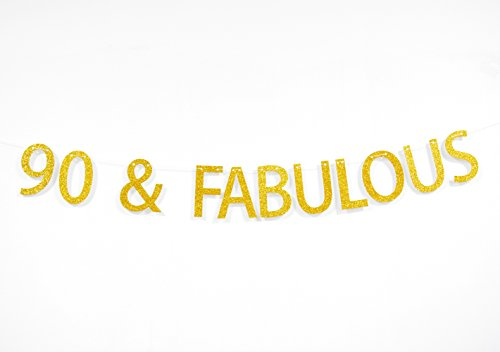 Firefairy 90 and Fabulous Gold Glitter Hanging Sign Banner- 90th Birthday,Anniversary Party Supplies, Ideas and Decorations (Ideas For 90th Birthday)