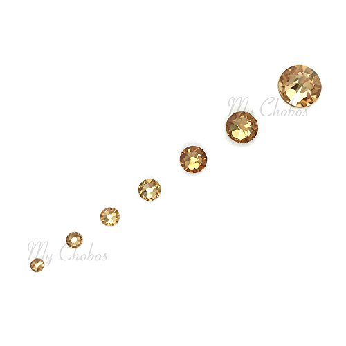 LIGHT COLORADO TOPAZ (246) brown gold 144 pcs Swarovski 2058/2088 Crystal Flatbacks yellow nail art mixed with Sizes ss5, ss7, ss9, ss12, ss16, ss20, ss30 *FREE Ship fm Mychobos (Crystal-Wholesale)* (Topaz Colorado Crystal)