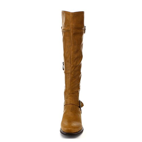 High Buckle Back Women Color Flat Fashion 5 Boot Riding 12 ENY Size CAMEL 5 Knee ANNA Stud Zipper Iwxz11