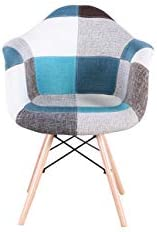 N/A Lot de 2 Chaises de Salle à Manger avec Accoudoirs Housse en Tissu Patchwork pour Salle à Manger Bureau Salon Rouge Patchwork chaises (Blue)