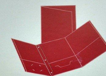 Oxford Paper Tri-Fold Pocket Folder with Fastener RED (Red Tri Fold)