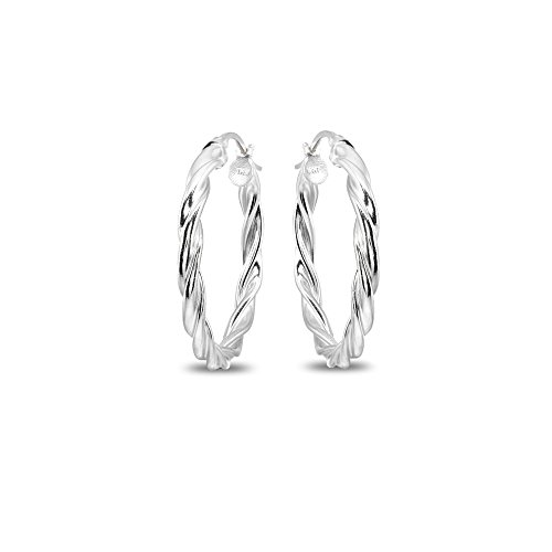 Sterling Silver 3x35mm Twist Round Medium Hoop Earrings for Women Girls, 1 2/5 Inches