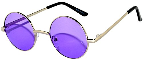 Round Retro Vintage Circle Style Sunglasses Purple Lens Silver Metal (Purple Circle)