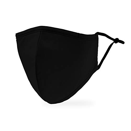 Weddingstar 3-Ply Adult Washable Cloth Face Mask Reusable and Adjustable with Filter Pocket – Black