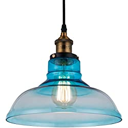 Blue Glass Pendant Light Sold by RH RUIVAST, Pendant Lighting Shade 11.02 Inches, Height 6.0 Inches, Chandeliers with 1E26 Lamp Holder, Used for Dining Room,Kitchen,Living Room,Family Entrance, Farm.