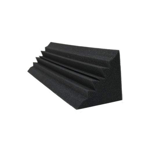 (4 PACK) 5 x 5 x 24 Inches Acoustic Wedge Studio Soundproofing Foam Bass Trap Corner Block Finish Corner Wall in Studios or Home Theater Acoustic Studio Bass Trap
