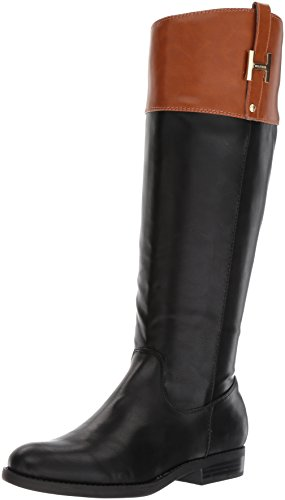 Tommy Hilfiger Women's SHYENNE Equestrian Boot, Black/Cognac, 9.5 Medium US